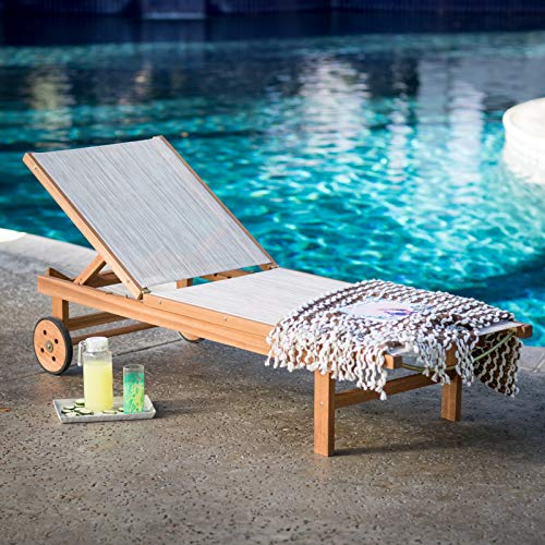 Natural Finish Eucalyptus Wood Sling Chaise Lounge Outdoor Pool Lounger with Wheels Patio Lounge - Sling Lounger Chaise