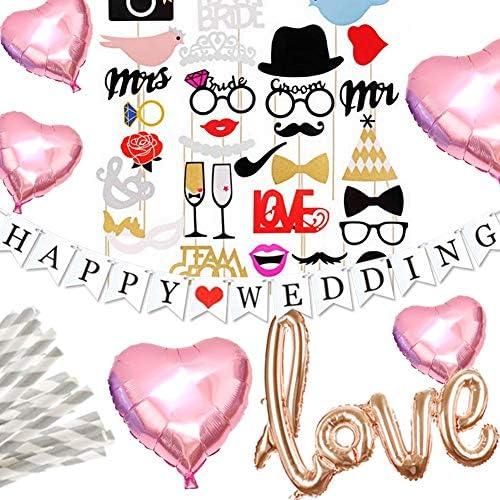 Hanamei ウェディング フォトプロップス ガーランド 装飾 パーティーフォト セット 写真 撮影 LOVE バルーン ハート HAPPY WEDDING ガーランド 結婚式 2次会 pa018 (ピンク)