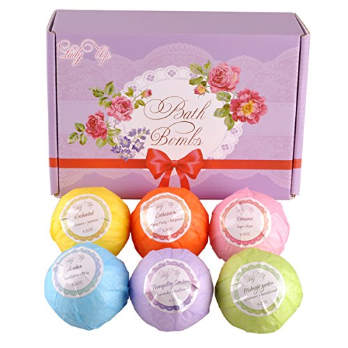 Lady Up 6-Pack Extra Large Bath Bomb Gift Set, 4.2oz Handmade Spa Bath Fizzies with Organic Essential Oil Blends