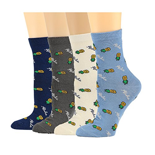 McoolMary Womens Pineapple Crew Socks Anti-Slip Cotton Dress Socks 4Pack