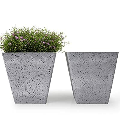 Flower Pots Indoor Plant Pots - 7.5 Inch Set of 2 Square Tapered Planters Outdoor Decorative Planter Pots, Speckled Grey : Garden & Outdoor
