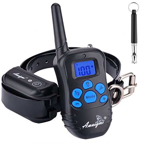 Awaiymi Dog Training Collar with Remote 1800ft [2018 Upgraded] Rechargeable Rainproof Dog Shock Collar with Beep Vibration Shock for Small Medium Large Dogs (1800ft-1)