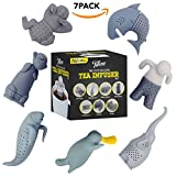 Tea Infuser, The Cute Loose Leaf Silicone Tea Filter Set of 7 Pack Strainer Steeper with Gift Box by Tilevo - includes Man & Animal Monkey, Shark, Elephant, Manatee, Platypus, and Sloth