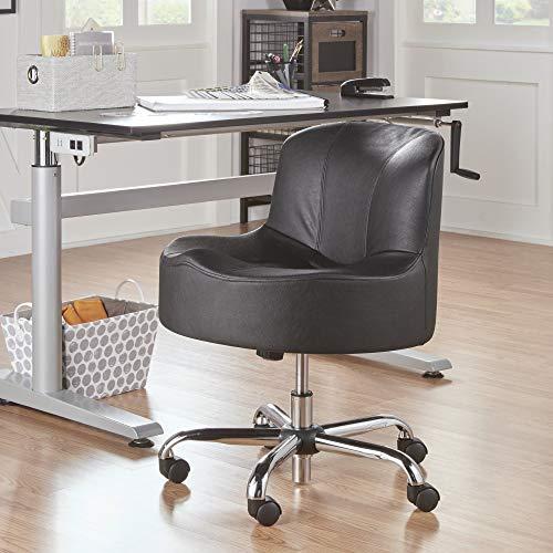 Inspire Q Bridgeport Ergonomic Contour Adjustable Swivel Modern Accent Chair w Casters by Classic Black