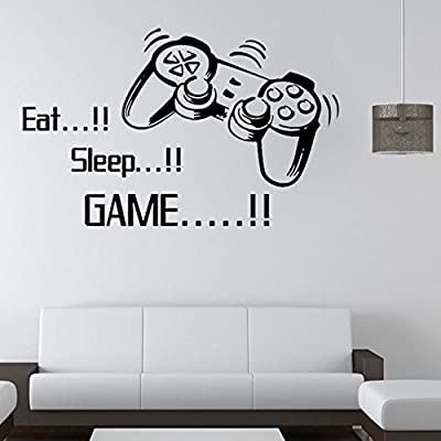 "Snowfoller Wall Stickers Boys Bedroom Letter "" Eat Sleep Game "" DIY Kids Rooms Decoration Art Mural Decor Decal Removable"