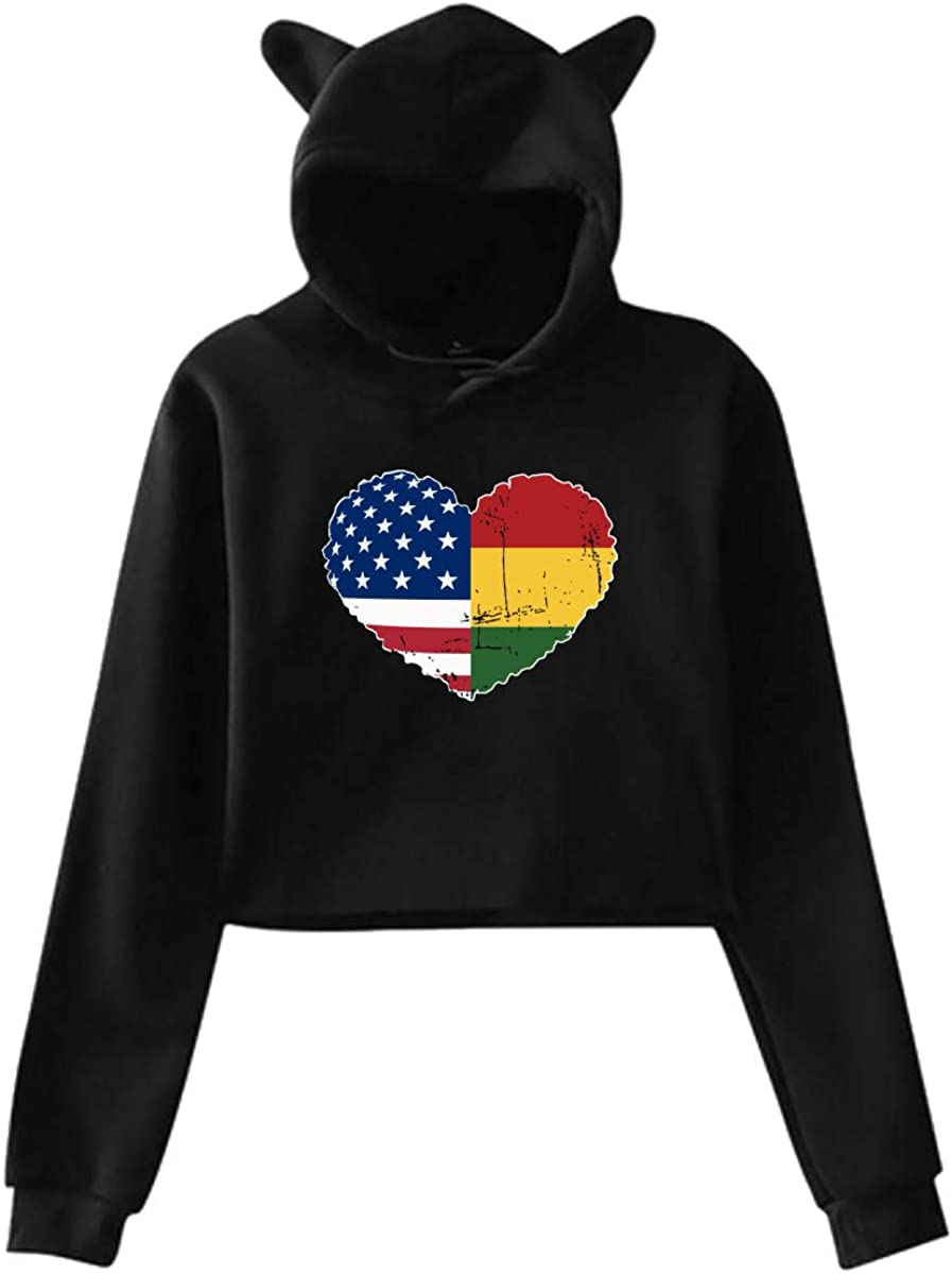 Womens Girls Cat Ear Pullover Hoodie Rasta USA Flag Heart Cropped Sweatshirts