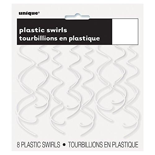Plastic Hanging Swirl White Decorations