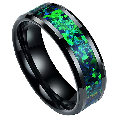 - DOUX 8mm Mens Black Ceramic Ring Real Blue-Green Opal Inlay Wedding Band High Polished9.5