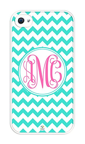 iZERCASE Monogram Personalized Turquoise Chevron with Pink Initials Pattern rubber iphone 4 case - Fits iphone 4 & iphone 4s T-Mobile, Verizon, AT&T, Sprint and International (White) (Turquoise Chevron Iphone 4 Case)