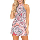 Relipop Fashion Women's Summer Floral Print Sleeveless Romper Casual Jumpsuit (X-Large, Pink)