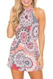 Relipop Fashion Women's Summer Floral Print Sleeveless Romper Casual Jumpsuit (Large, Pink)
