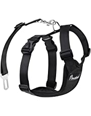 Pawaboo Dog Safety Vest Harness, Pet Car Harness Vehicle Seat Belt with Adjustable Strap and Buckle Clip, Easy Control for Driving Traveling Safety for Small Medium Dogs Cats, Medium, Black