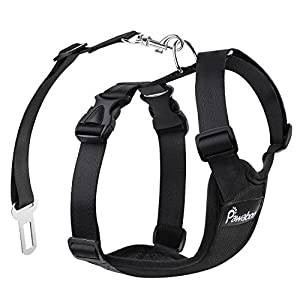 Pawaboo Dog Safety Vest Harness, Pet Dog Adjustable Car Safety Mesh Harness Travel Strap Vest with Car Seat Belt Lead Clip. 9