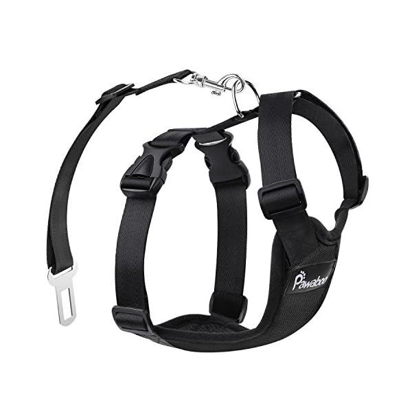 Pawaboo Dog Safety Vest Harness, Pet Dog Adjustable Car Safety Mesh Harness Travel Strap Vest with Car Seat Belt Lead Clip. 1