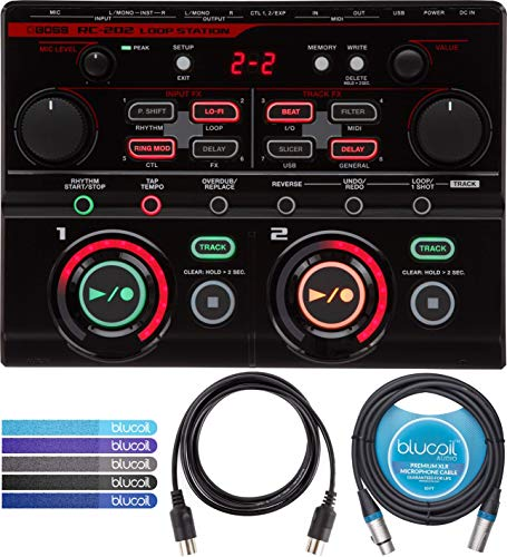 BOSS RC-202 Loop Station with USB Audio/MIDI Connection Bundle with Blucoil 10-Ft Balanced XLR Cable, 5-Ft MIDI Cable and 5-Pack of Reusable Cable Ties