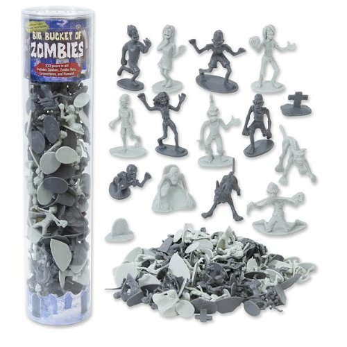 Zombie Action Figures - Big Bucket of 100 Zombies - Perfect for Halloween Decorations and Teal Pumpkin Trick or Treating - Zombies, Pets, Graves, and Humans