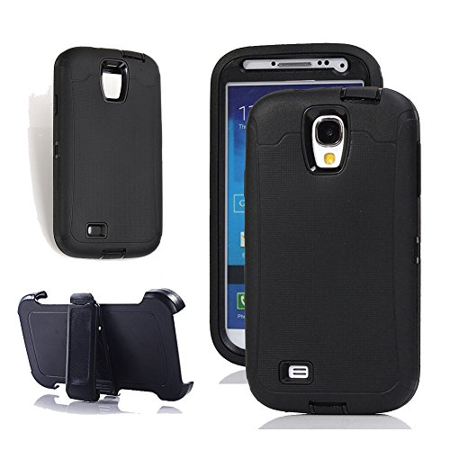 Galaxy S4 Holster Case, Harsel Defender Series Heavy Duty Dust Shockproof Tough Rugged Hybrid Armor Protective Shell with Belt Clip Built-in Screen Protector Cover Case for Galaxy S4 (Black)