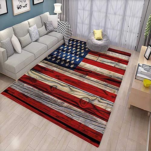 4th of July Room Home Bedroom Carpet Floor Mat Wooden Planks