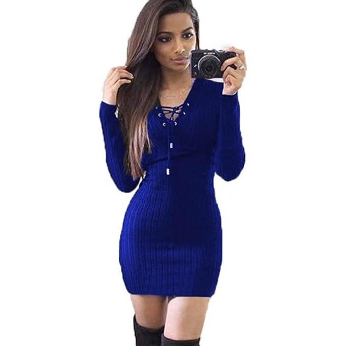 K-youth® Mujer Vestido de Punto Básico Vestido de Fiesta Elegante Moda Jersey Invierno