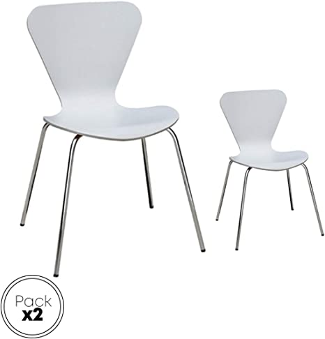 Danesa blanca silla metálica, asiento madera apilable para comedor ...