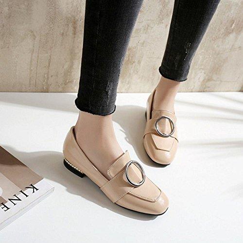 COOLCEPT Women Square Toe Court Shoes Beige 4sfxWI