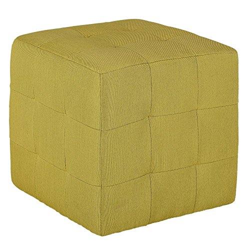 Cortesi Home Braque Citron Tufted Cube Ottoman in Green Fabric
