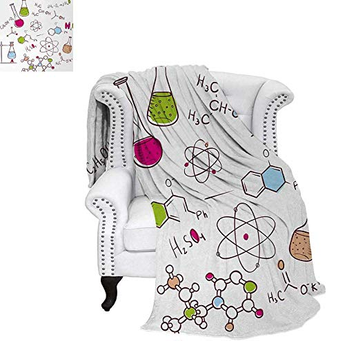 Warm Microfiber All Season Blanket Doodle Style Hand Drawn Chemistry Composition with Atom Molecules Flask Print Artwork Image 62