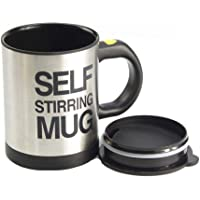 Black 400ml Portable Self Auto Mixing Cup Stainless Steel Lazy Self Stirring Mug for Coffee tea Soup