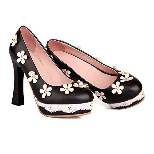 Shoes 39 Thin black High Splicing Flower Thick Low Round cut Heel Platform 6xzWqTwSH