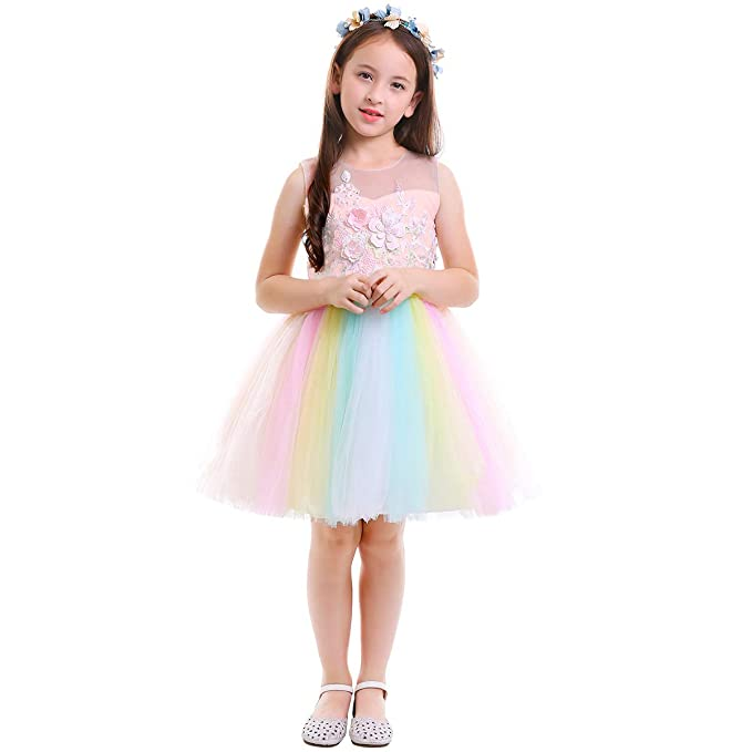 af940cd4f23 Amazon.com  Unicorn Costume Flower Girl Rainbow Tutu Dress Embroidered Floral  Princess Pageant Party Birthday Wedding Short Gown  Clothing