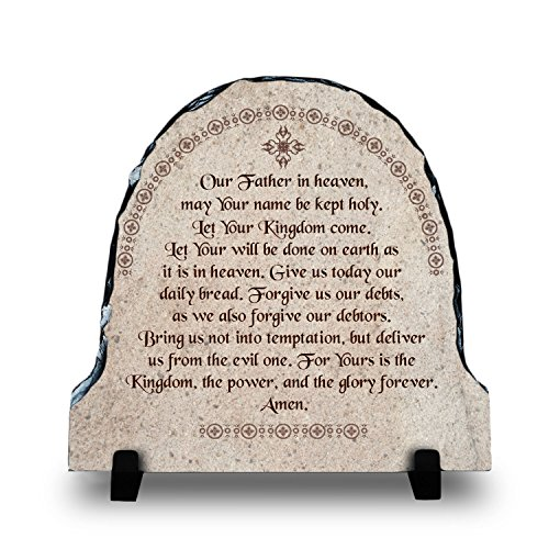 The Lord's Prayer (7.8X7.8, WEB) | Superior Religious Inspirational Home Décor By InspiraGifts Polished Slate | Christian Home Plaque Stone Gift