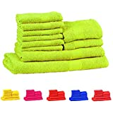 Trident Neon Bright Green 10 Pcs Towel Set