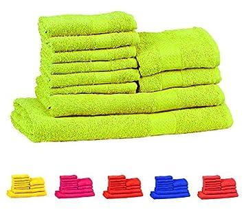 Trident 400 g/m², Juego de 10 toallas de algodón (baño, mano y cara), Verde Brillante: Amazon.es: Hogar