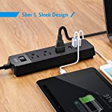 AMIR Smart Power Strip USB Charger, 3 USB Ports + 3 AC Outlets, Surge Protector Travel Charger (AC 100-240V), Charging Station with 1.8m/5.9ft Extension Cord (Black)