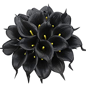 Duovlo 20pcs Calla Lily Bridal Wedding Bouquet Lataex Real Touch Artificial Flower Home Party Decor (Black) 27