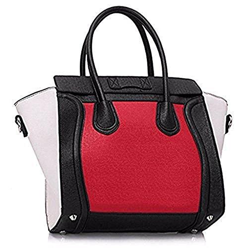 TrendStar - Bolso al hombro para mujer Z-black/Red/White Smile Tote Bag