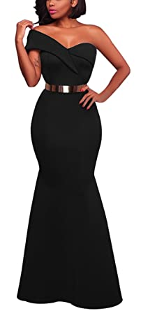 591e187131b96 Women's Sexy One Shoulder Ponti Gown Mermaid Evening Maxi Party Dress Black  S
