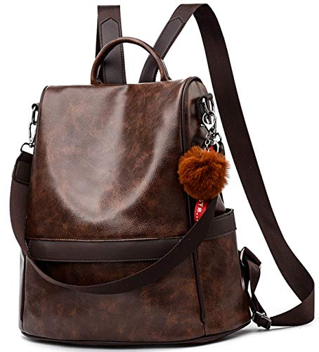 Satchel Casual - Women Backpack Purse PU Leather Anti-Theft Casual Satchel Shoulder Bag for Ladies (Coffee)