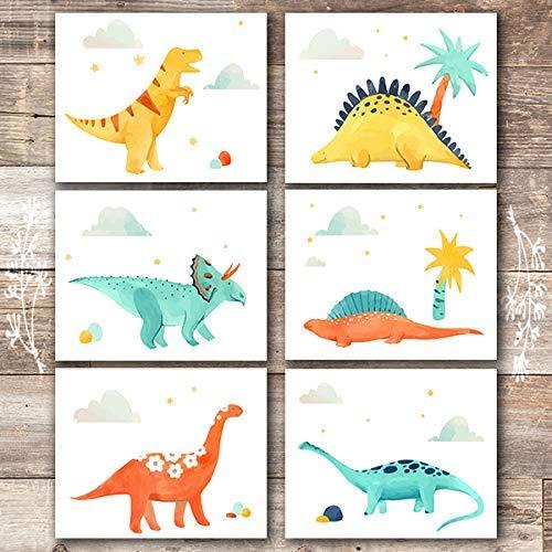 Amazon Com Dinosaur Wall Decor Art Prints Set Of 6 Unframed 8x10s Handmade