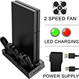 Ortz PS4 Vertical Stand [2017 Version] Cooling Fan [FREE External Power Supply & 10ft Cable] for Playstation 4 - Best Dock Controller Charging Station with 5 USB Ports - 2 Speed Fan & LED Display from Ortz