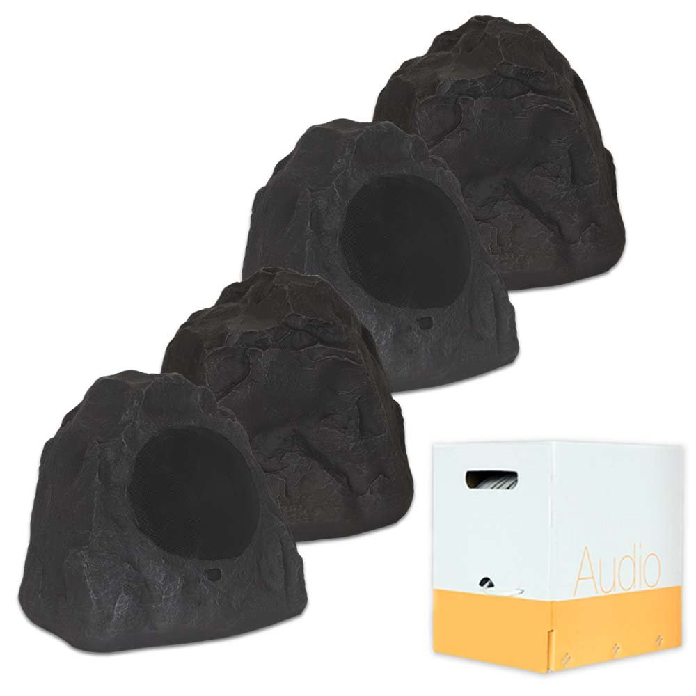 Theater Solutions 4R8L Outdoor Lava 8'' Rock 4 Speaker Set with Wire for Yard Pool Spa Patio Garden by Theater Solutions