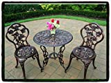 Cheap Patio Outdoor Furniture Rose Design Cast Aluminum Bistro Set Antique Copper Wicker Garden Piece Table Dining Chairs New Chair Pool Package All Weather Lawn Home Kitchen Modern Guarantee – It Comes ONLY Along with Our Company's EBOOK