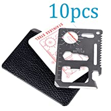 TTOBS 11 in 1 Credit Card Wallet Knife Stainless Steel Survival Utility Perfect Tool for Bug Out Bag Camping Fishing Include Knife Saw Bottle Opener Head Screwdriver 4 Position Wrench and More