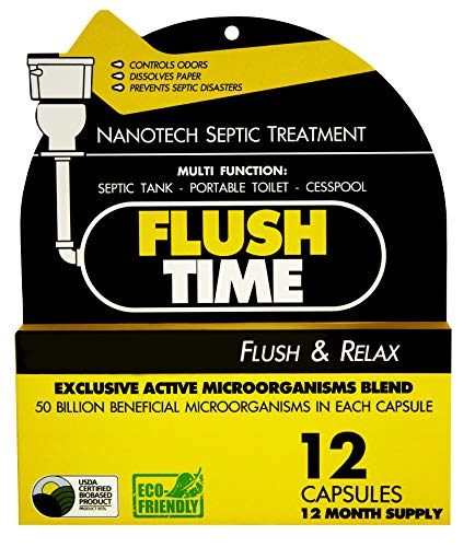 Flush Time Septic Tank Treatment | 1 Yr Supply | Natural Toilet Flushable Monthly Septic System Cleaner Additive | Odor…