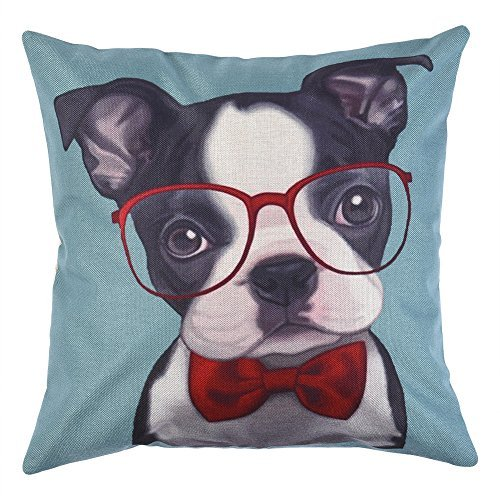 Price comparison product image Uarter Cute Decorative Throw Pillow Case Adorable Throw Pillow Cover Cotton Linen Cushion Cover with Invisible Opening, Dog Wearing Glasses Pattern, Suitable for Both Home and Office, 18''x18'', Green