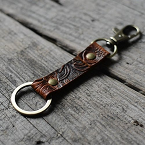 Leather Keychain / Walnut Leather Key Holder , Mens Keychain / Leather Key Ring, Leather Key Chain Genuine Leather Key Chain Ring Fob, Swivel Clasp Attaches to Belt Loops (Ring Key Handmade Leather)