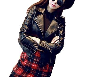 Runyue Mujer Cremallera Jackets Chaquetas Deportiva PU Cuero Moto Cazadoras Biker Abrigos Negro S