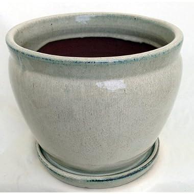 Fishbowl Glazed Ceramic Pot/Saucer - Beige - 7.25  x 6.25  with Felt Feet