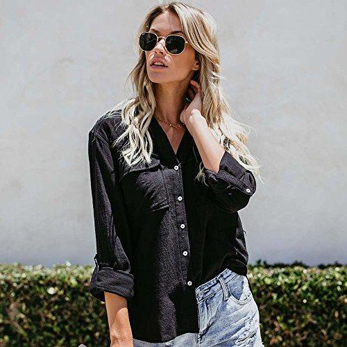 Amazon.com: JOYFEEL Camisas de algodón con botones de lino ...