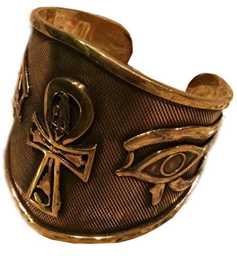 KemetArt Egyptian Bronze Bangle (ANKH & Eye)